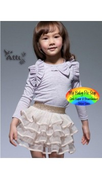 Korean Girl Gold Tutu Skirt (2Y, 3Y, 4Y, 5Y, 6Y, 7Y)